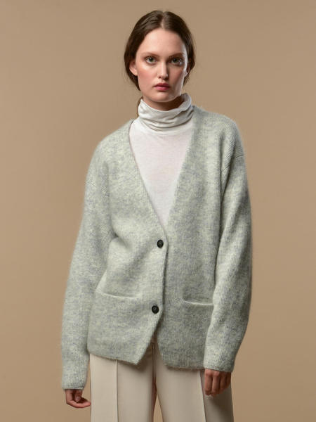 PURE CASHMERE NYC Mohair Curved Sleeve Cardigan - Light Grey