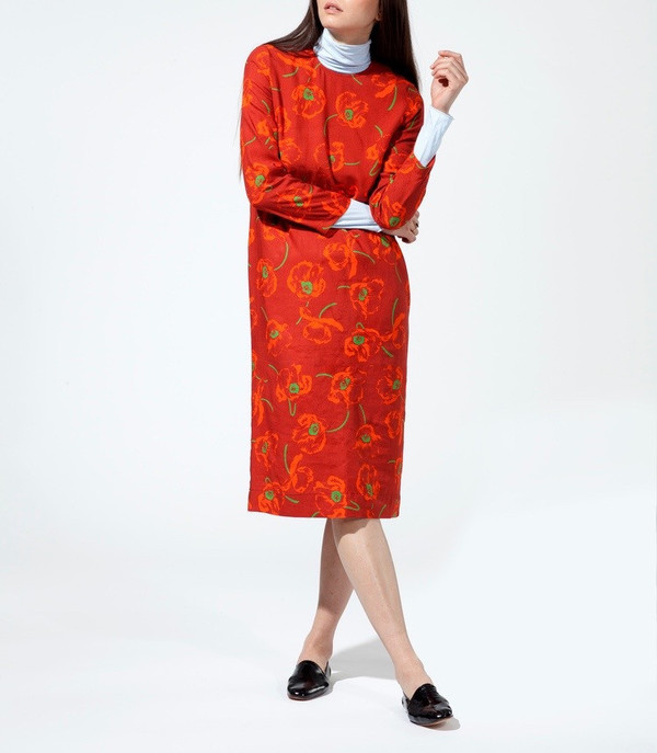 d68051641888e CARLEEN California Midi Dress in Dark Poppy   Garmentory