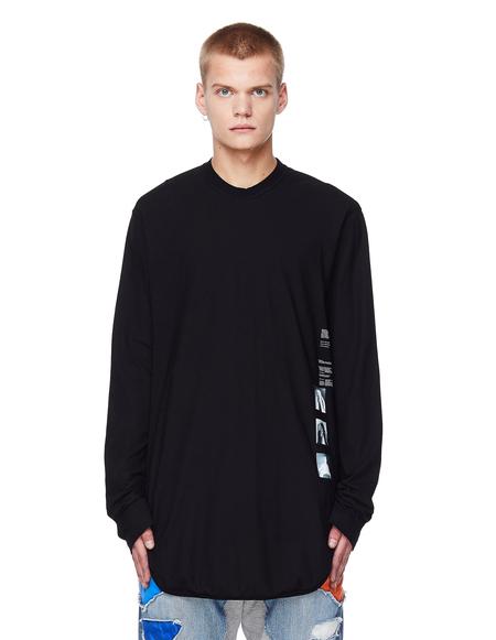 Julius Printed Cotton Longsleeve T-Shirt  - Black