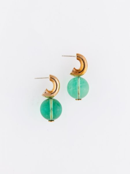 Modern Weaving Mini C-Curve Hoops - Green Glass