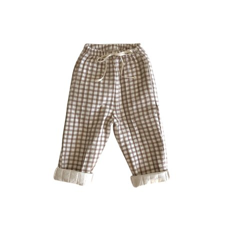 kids Liilu Quilted Pant - Brown Check