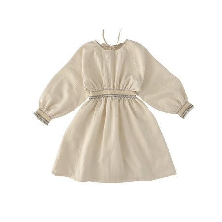 kids Liilu Smocked Raglan Dress - Ivory