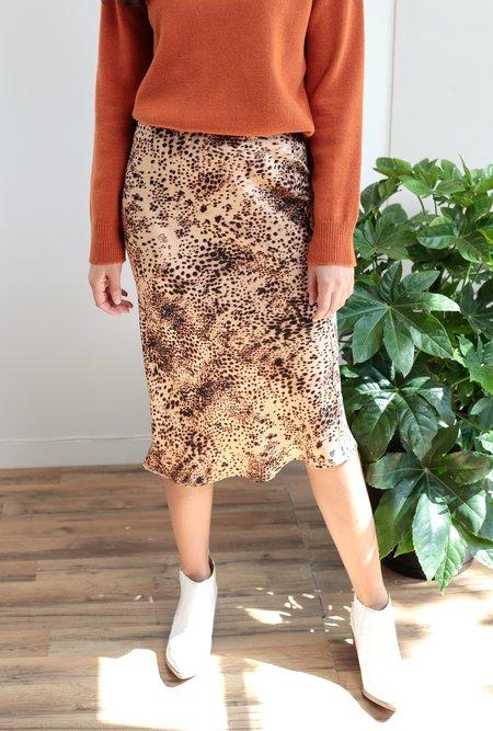 Azalea Liza Animal Midi Skirt - Tan
