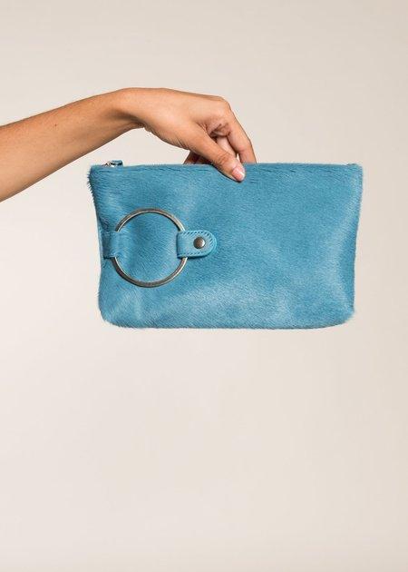 Kim White Fur Ring Clutch - Blue Fur