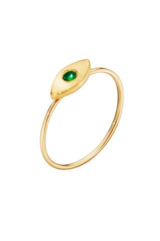 "Katrine Kristensen - ""Eye"" 24K Gold Ring With Emerald Eyes"