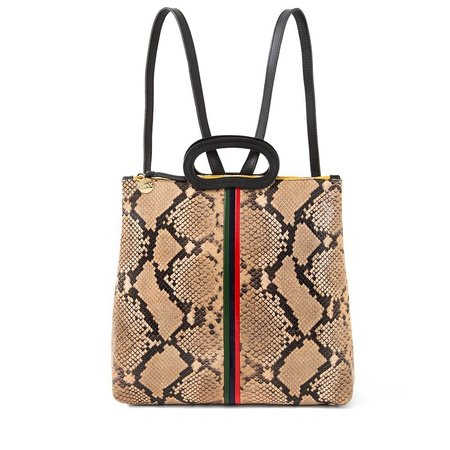 Clare V. Marcelle Backpack - Tan Snake