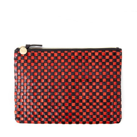Clare V. Flat Clutch - Navy/Red Checker