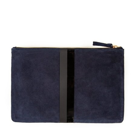 Clare V. Flat Clutch - Navy Suede/Matte Glossy Black Stripes