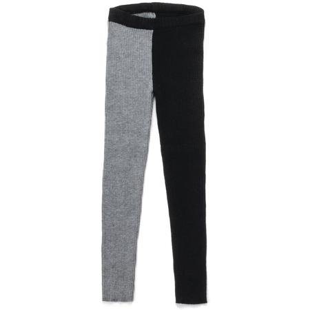 kids nununu half & half knit leggings - black/heather grey