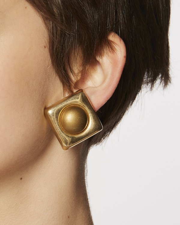 Vintage Geometric clip-on earrings - Gold