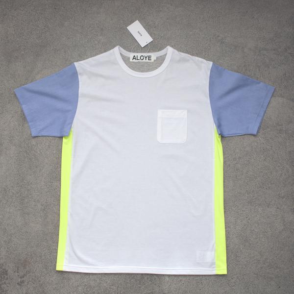 Unisex Aloye Shirt Fabrics Pocket Tee - White/Neon