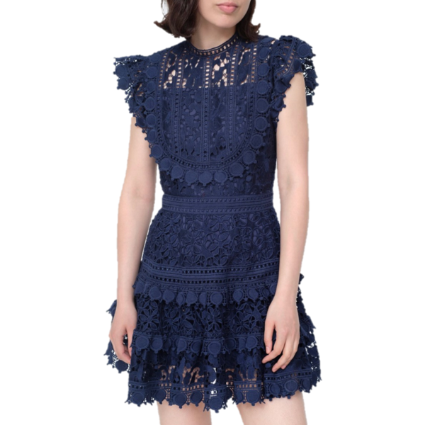 Sea Ny Abby Puff Sleeve Short Dress Navy Blue On Garmentory