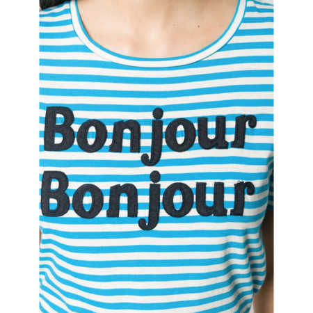 Chinti and Parker Bonjour Bonjour Short Sleeve T-Shirt - Ivory/Turquoise