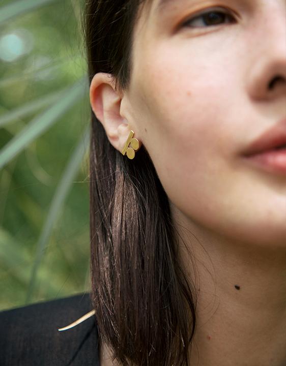Lila Rice Suneja Earrings - Brass