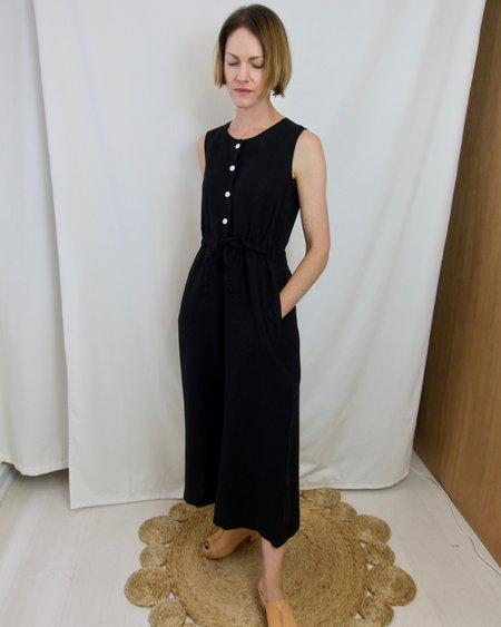 GOOD STUDIOS Hemp Linen Drawstring Jumpsuit - Black