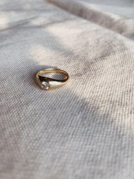 J. Hannah Demi Signet Pinky Ring - 14K Gold/White Diamond