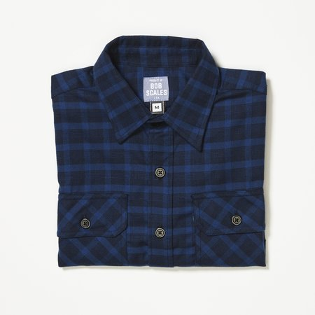 Product of Bob Scales WORK SHIRT - NAVY TONAL PLAID