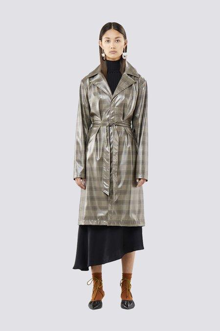Unisex Rains Overcoat - Beige Check