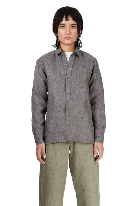 Unisex Blluemade Wool-Linen French Pullover - Charcoal Grey
