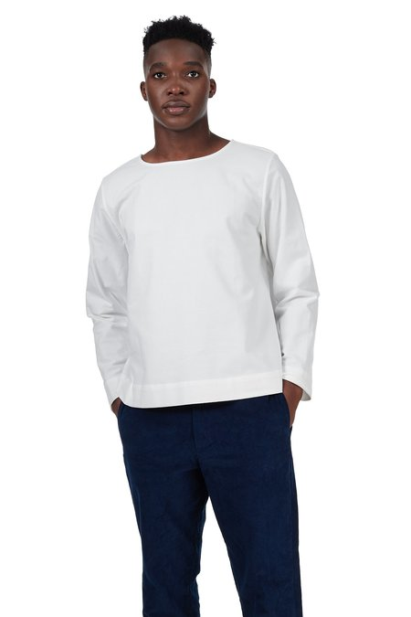 Unisex Blluemade Long-Sleeved Tee - White Cotton Flannel
