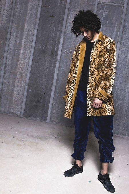 Unisex Fried Rice Bal Collar Coat - Leopard