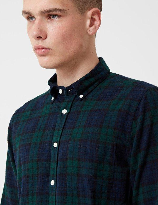 Portuguese Flannel Bonfim Flannel Checked Shirt - Navy Blue/Green