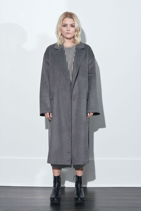 French Connection Agatima Wool Belted Coat - Grey Melange