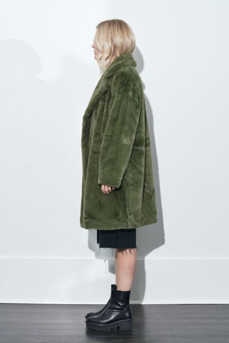 French Connection Buona Faux Fur Long Coat - Loden Green