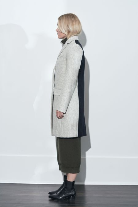 French Connection Carmelita Color Block Coat - Dove Grey/Utility Blue/Citronelle