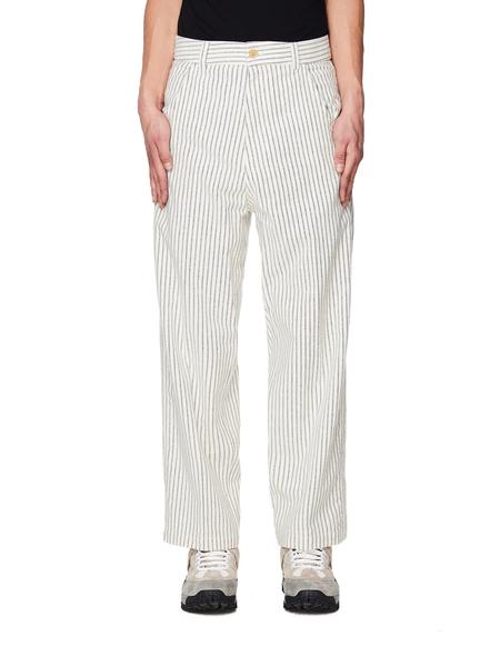 Haider Ackermann Wide Leg Striped Cotton Trousers - White