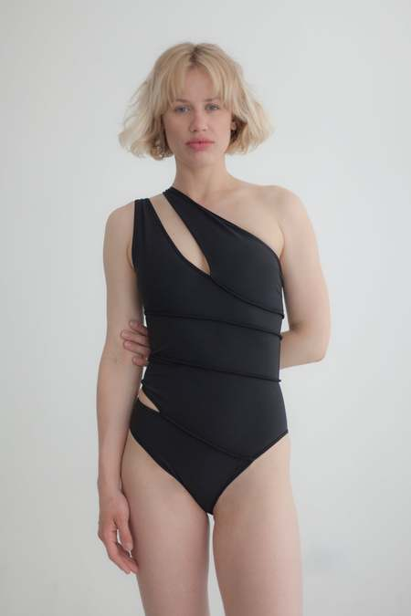 Overall Office SPIRAL SWIMSUIT - BLACK