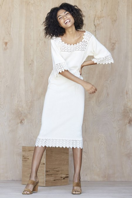 Callahan Crochet Belted Dress - Creme