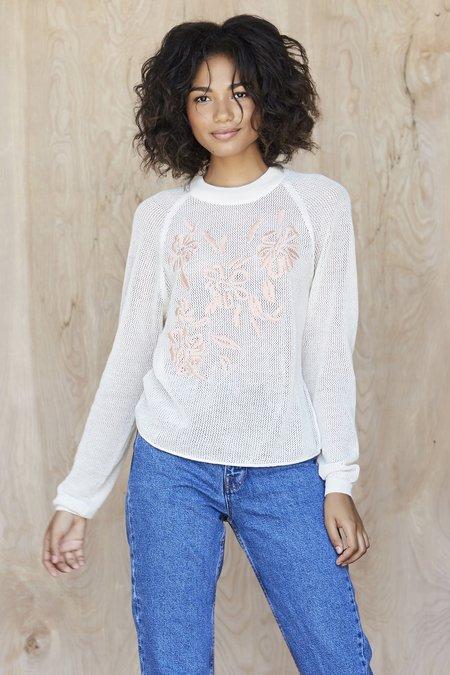 Callahan Embroidered Floral Crewneck - Creme