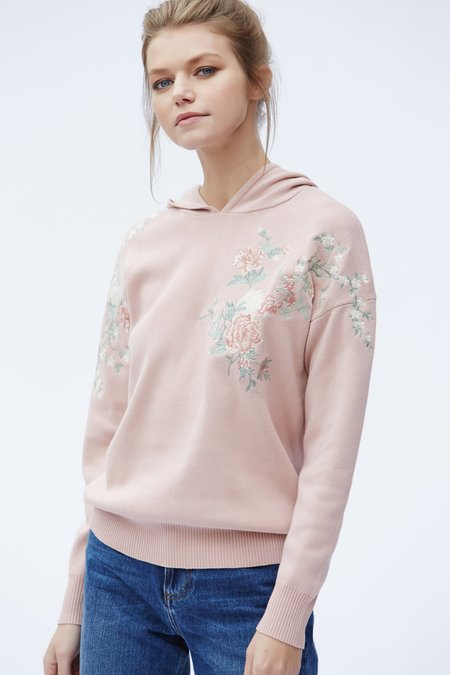 Callahan Floral Embroidered Hoodie - Multi