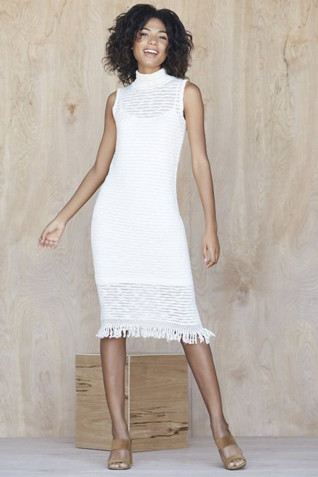 Callahan Stripe Sleeveless Turtleneck Dress - Creme