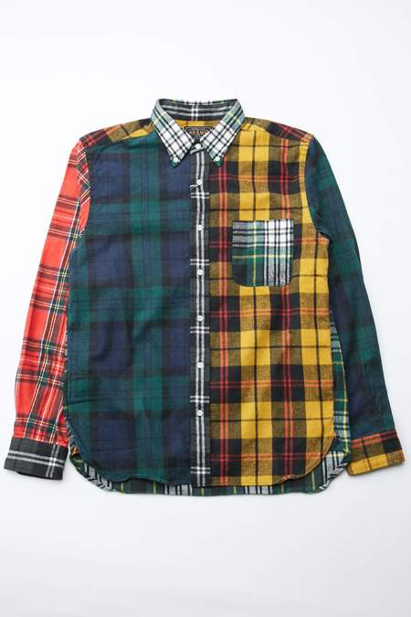 Beams Plus Button Down Shaggy Tartan 2 Shirt - Crazy Yellow