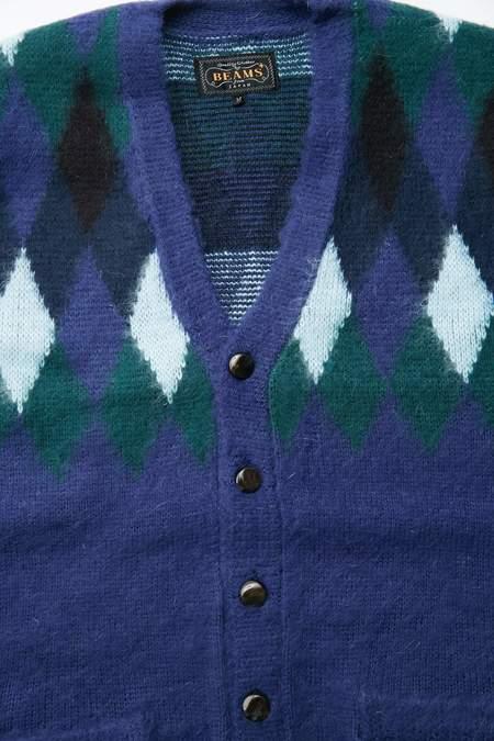 Beams Plus Diamond Pattern Cardigan - Navy