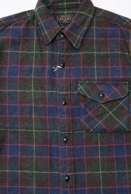 Beams Plus Guide Tweed Check Shirt - Green