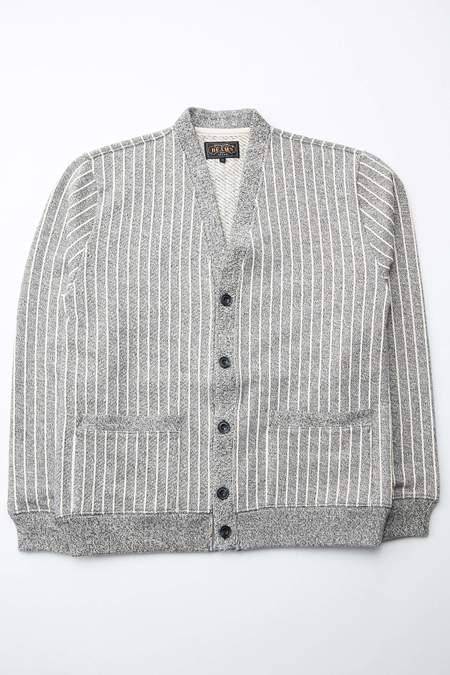 Beams Plus V Cardigan Sweat Stripe - Grey