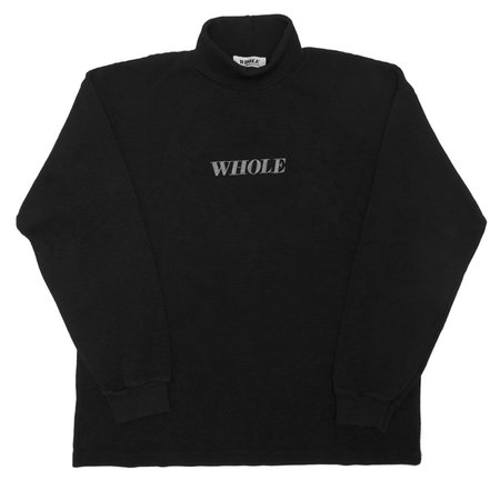 UNISEX WHOLE THERMAL LOGO TURTLENECK - BLACK