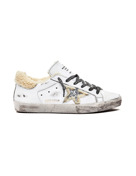 GOLDEN GOOSE DELUXE BRAND Shearling Superstar Sneakers - White/Glitter Star