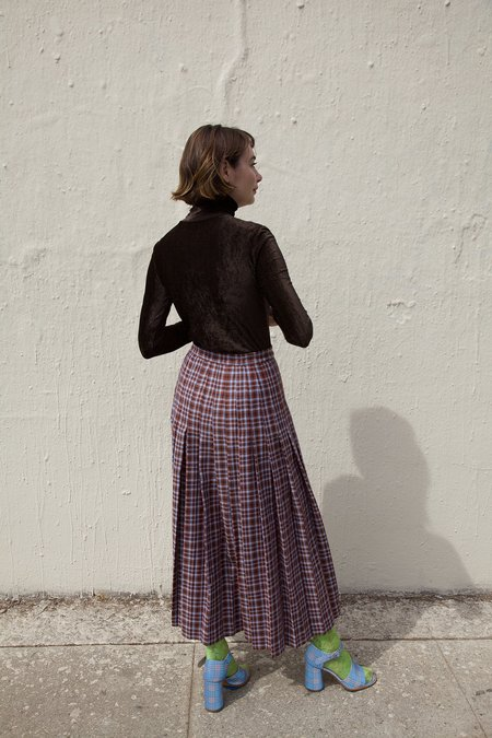 Maryam Nassir Zadeh Umbra Skirt - Mulberry Plaid