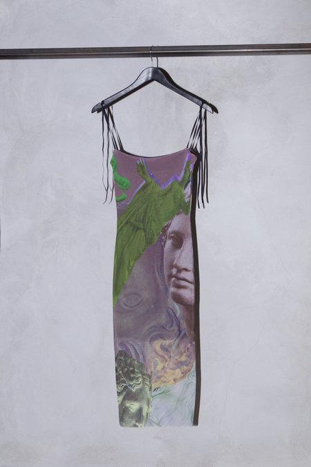 Auné Trompe L'œil Print Mesh Midi Dress - Beige/Green