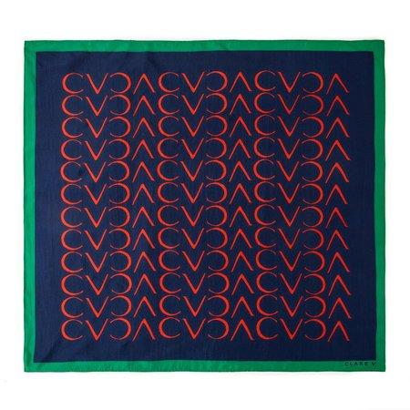 Clare V. Silk Scarf - Navy/Red CV Repeat