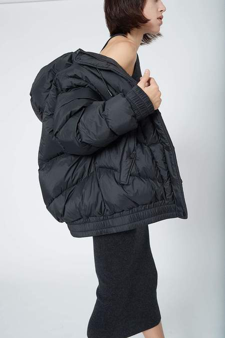 Ahirain Ripstop Nylon with Goose Down Hoodie Bomber - Black