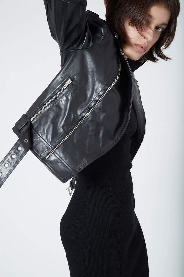 Isabel Benenato Leather Jacket - black