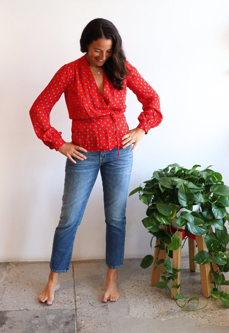 L'Agence Cara Wrap Blouse - Royal Red Maestro