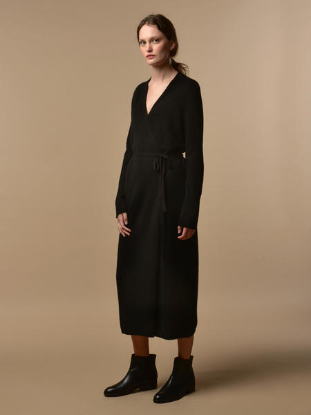 Pure Cashmere NYC Maxi Wrap Dress - Black