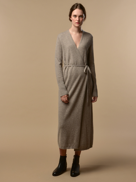Pure Cashmere NYC Maxi Wrap Dress - Beige