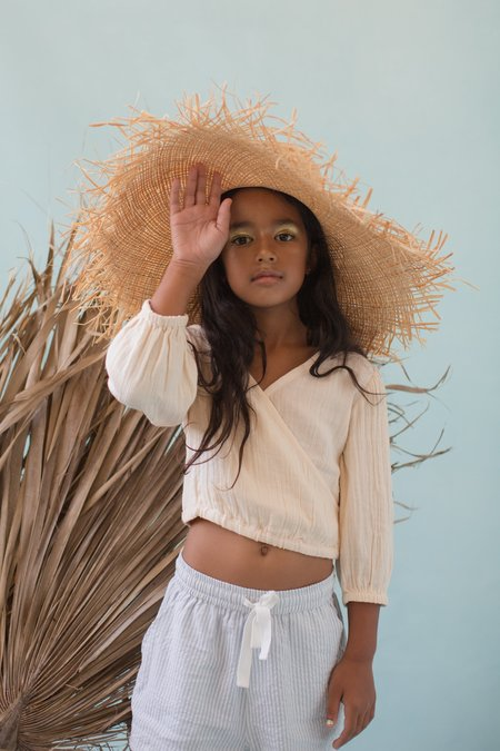 KIDS Feather Drum CROSS-OVER BLOUSE - CHAI